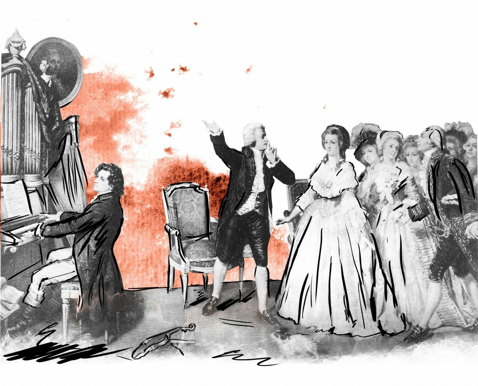 Links im Bild spielt Beethoven an einer Orgel. In der Mitte steht Mozart und bittet mit dem Finger auf dem Mund eine Gruppe Damen still zu sein.