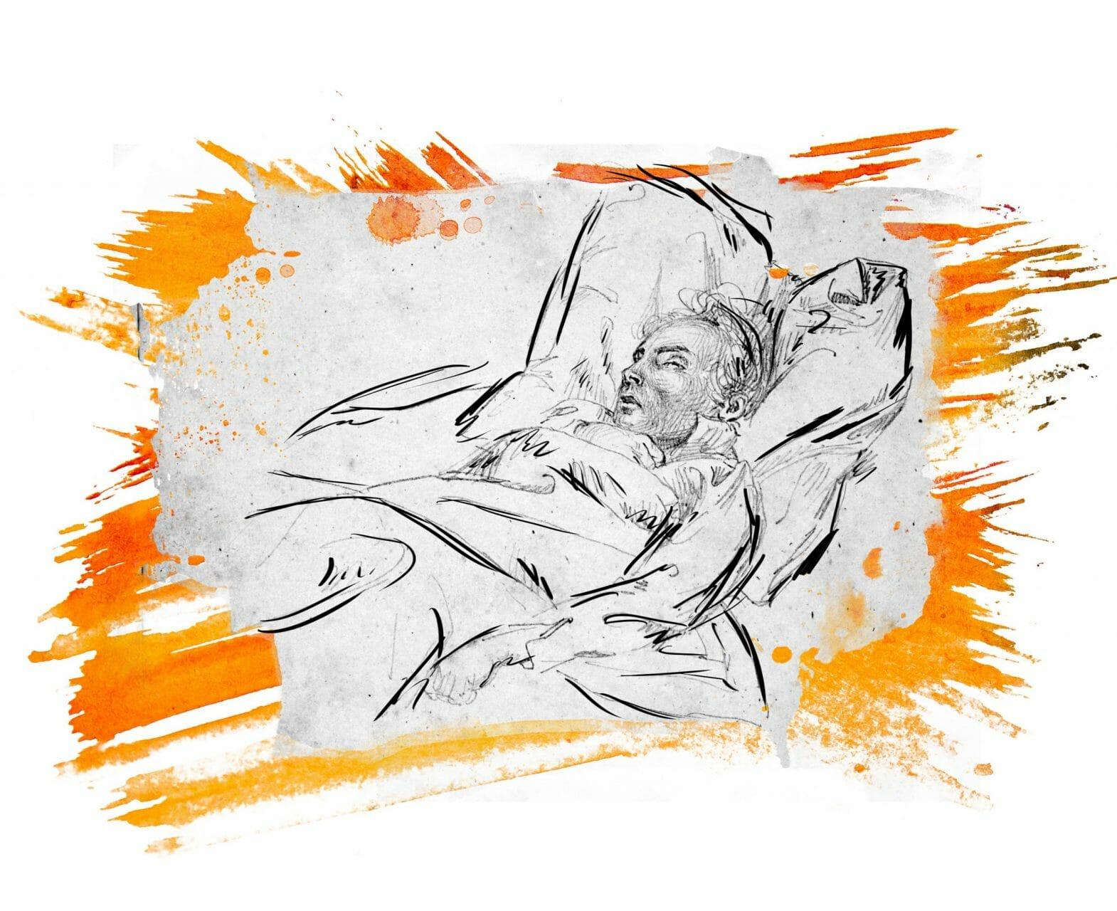 Ein Mann liegt in einem Bett, er scheint friedlich zu schlafen.