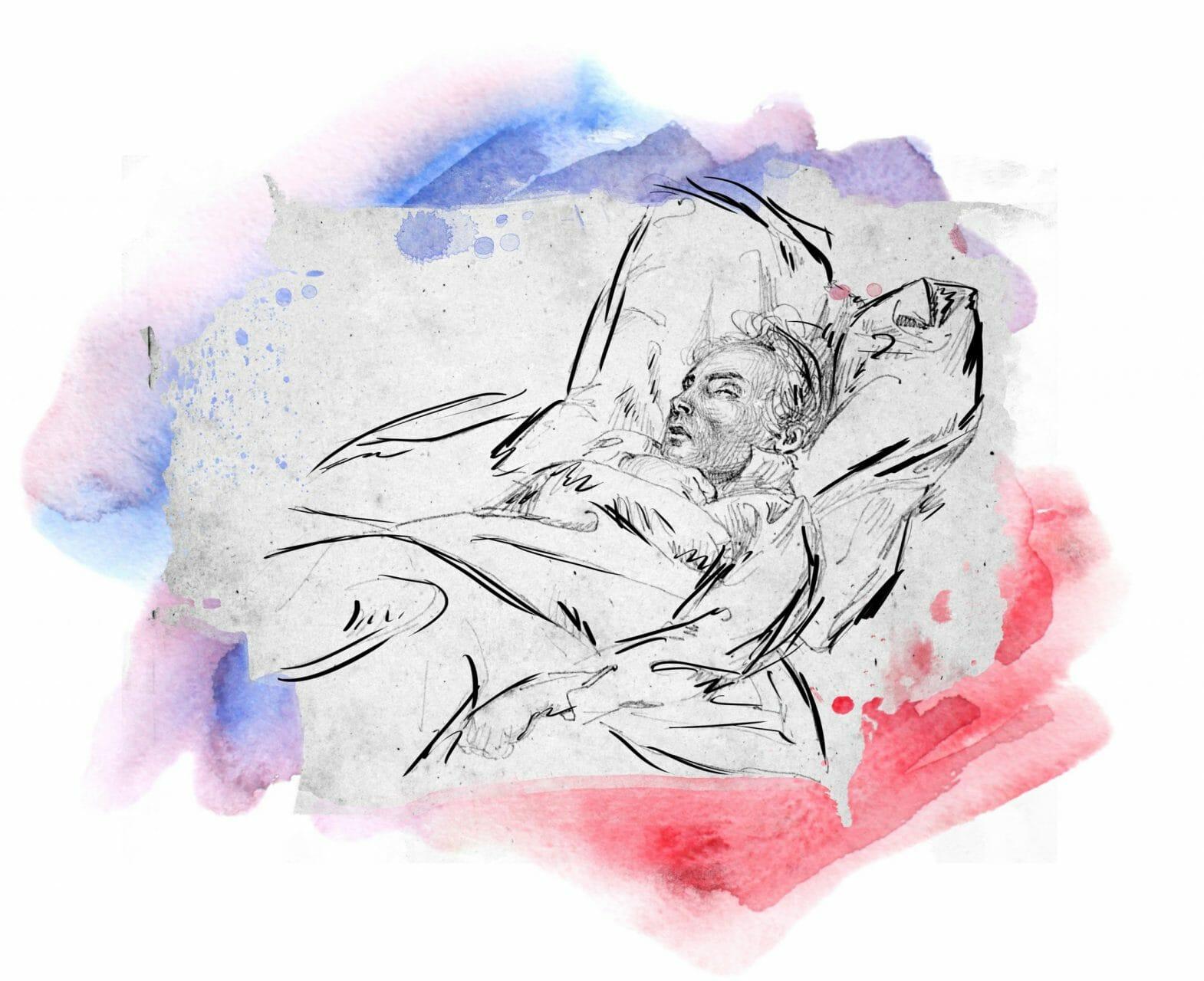 Zeichnung eines Mannes in einem Bett. Er scheint friedlich zu schlafen.