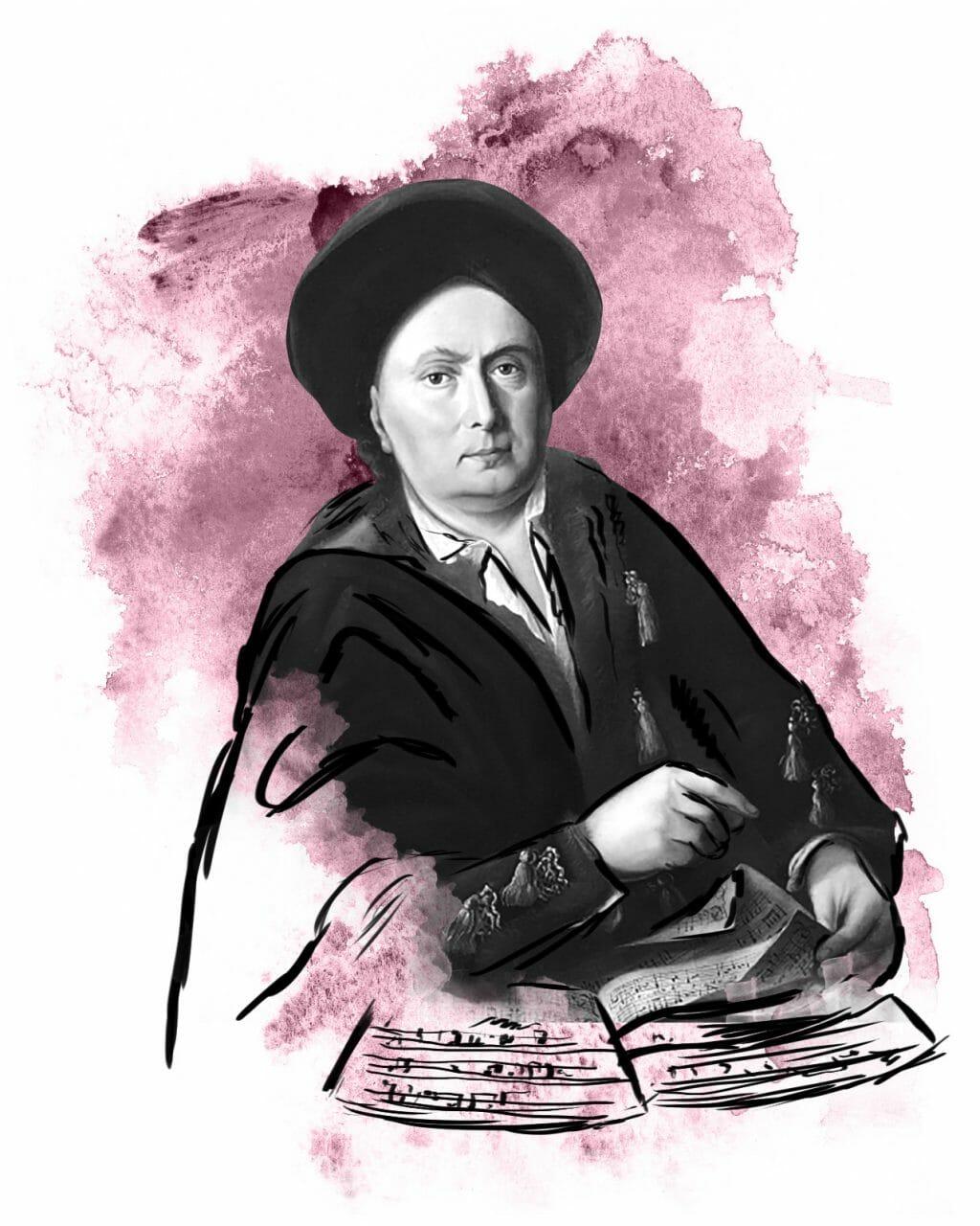Ein Portrait eines Mannes mit Kopfbedeckung. Vor ihm liegen Noten.