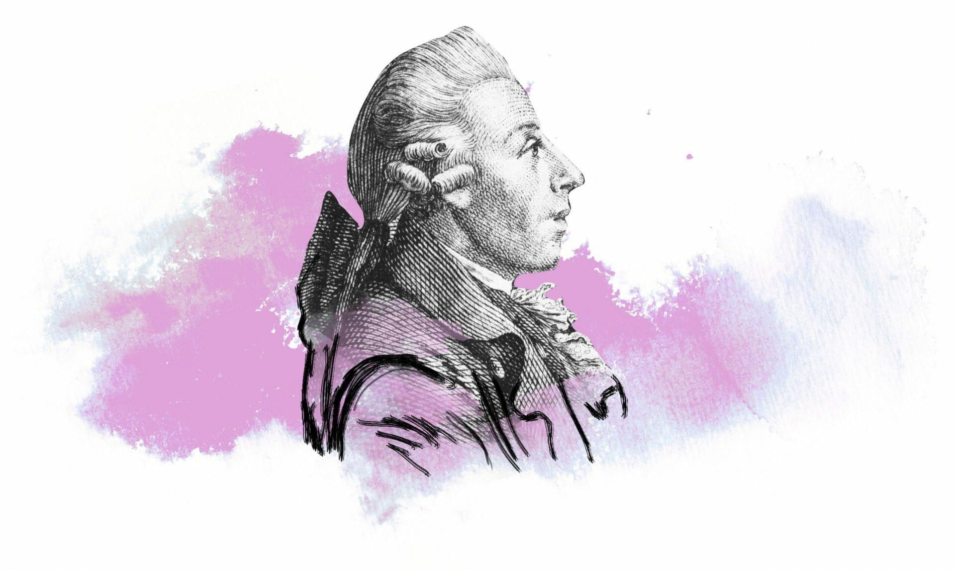 Portrait eines Mannes im Profil. Er trägt die Hare auf barocke Weise gelockt.
