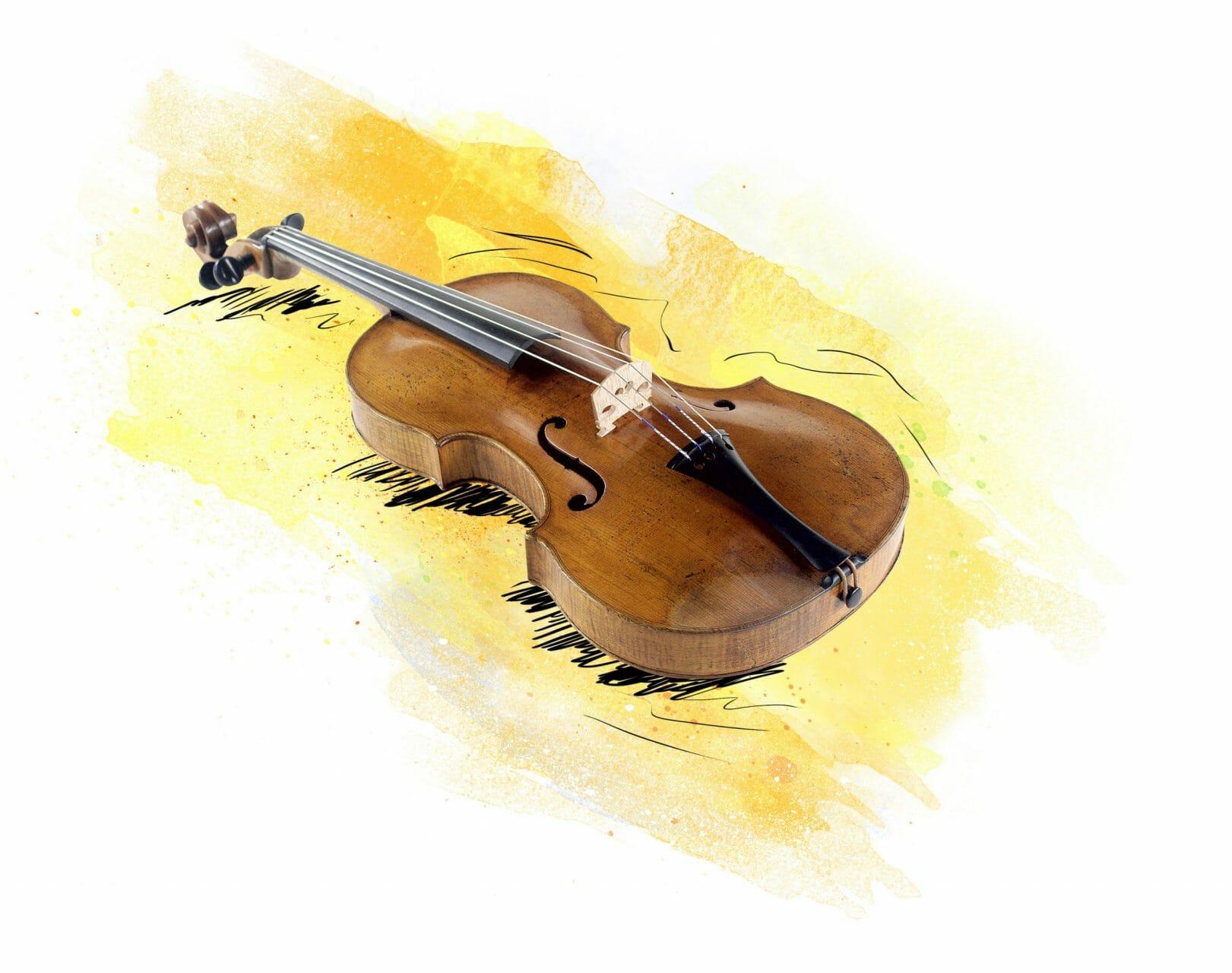Eine Geige liegt auf gelbem Grund.