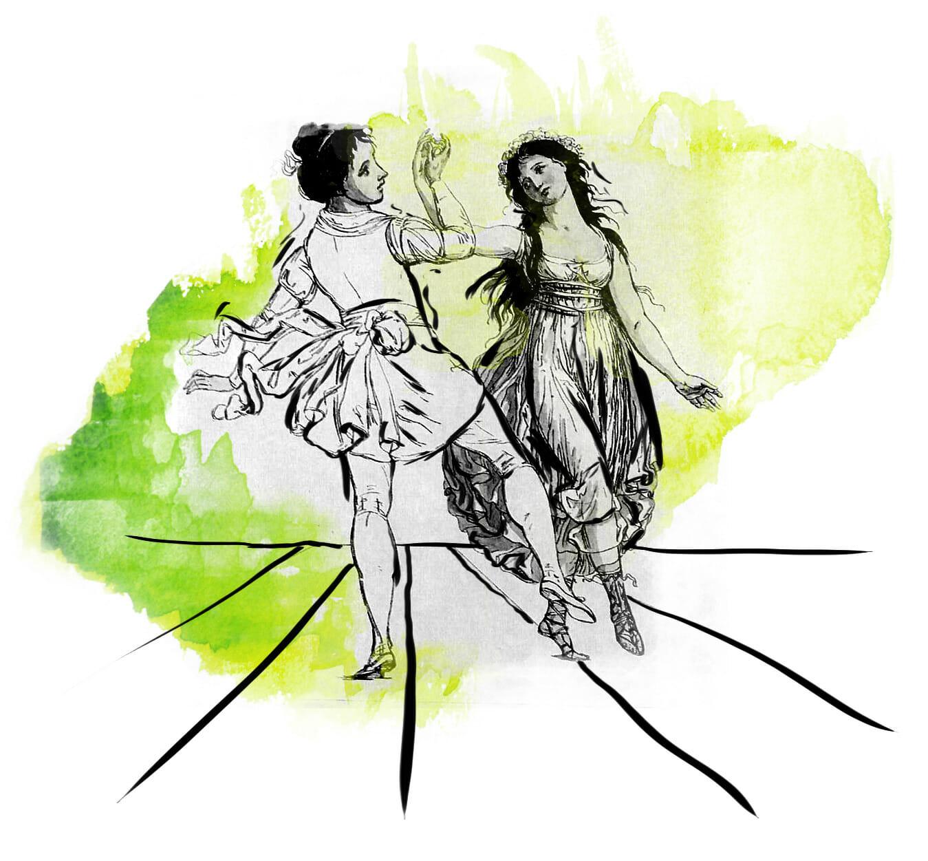 Zwei Mädchen in luftigen Gewändern tanzen miteinander.