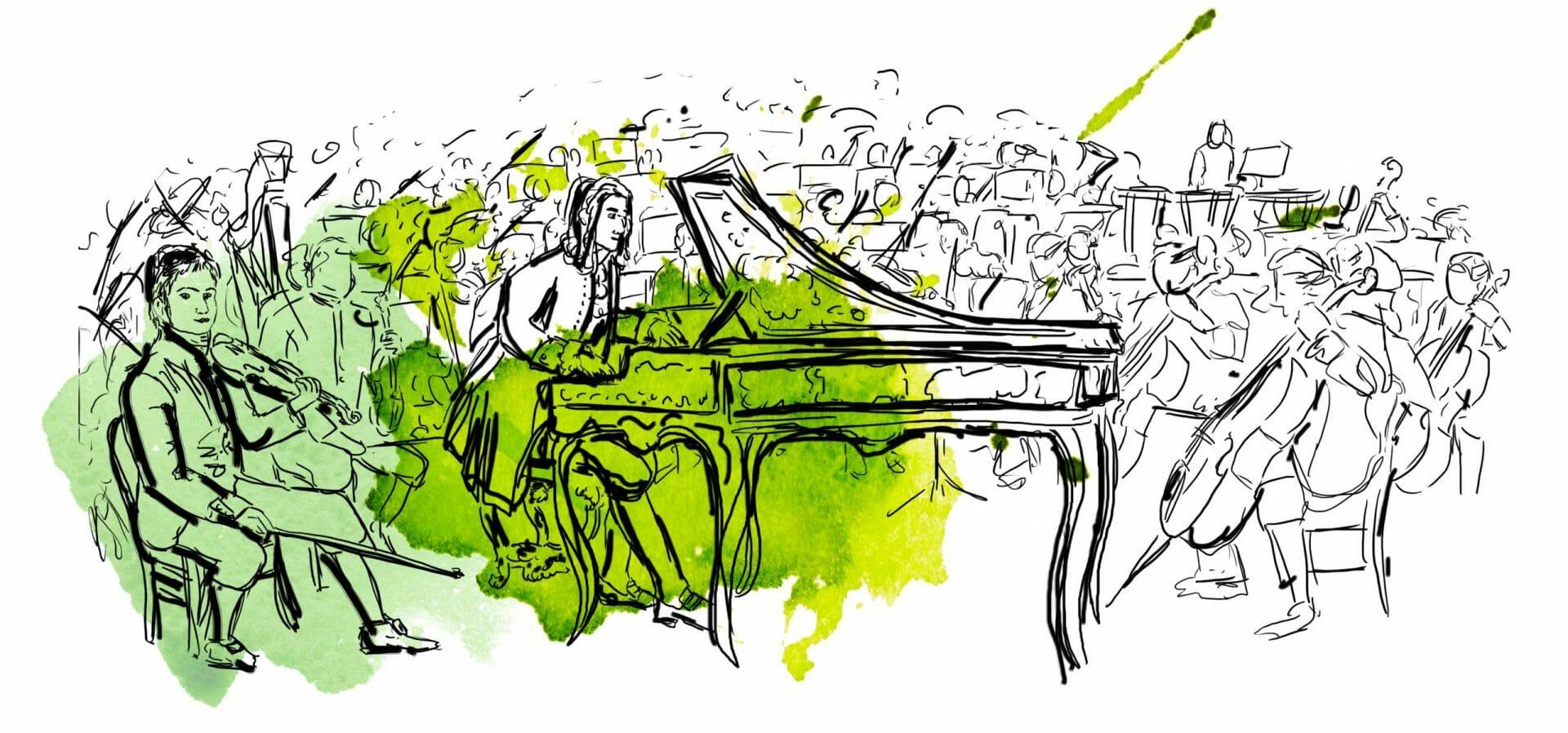 In der Mitte des Bildest sitzt ein Musiker an einem Cembalo, um ihn herum eine Hofkapelle.