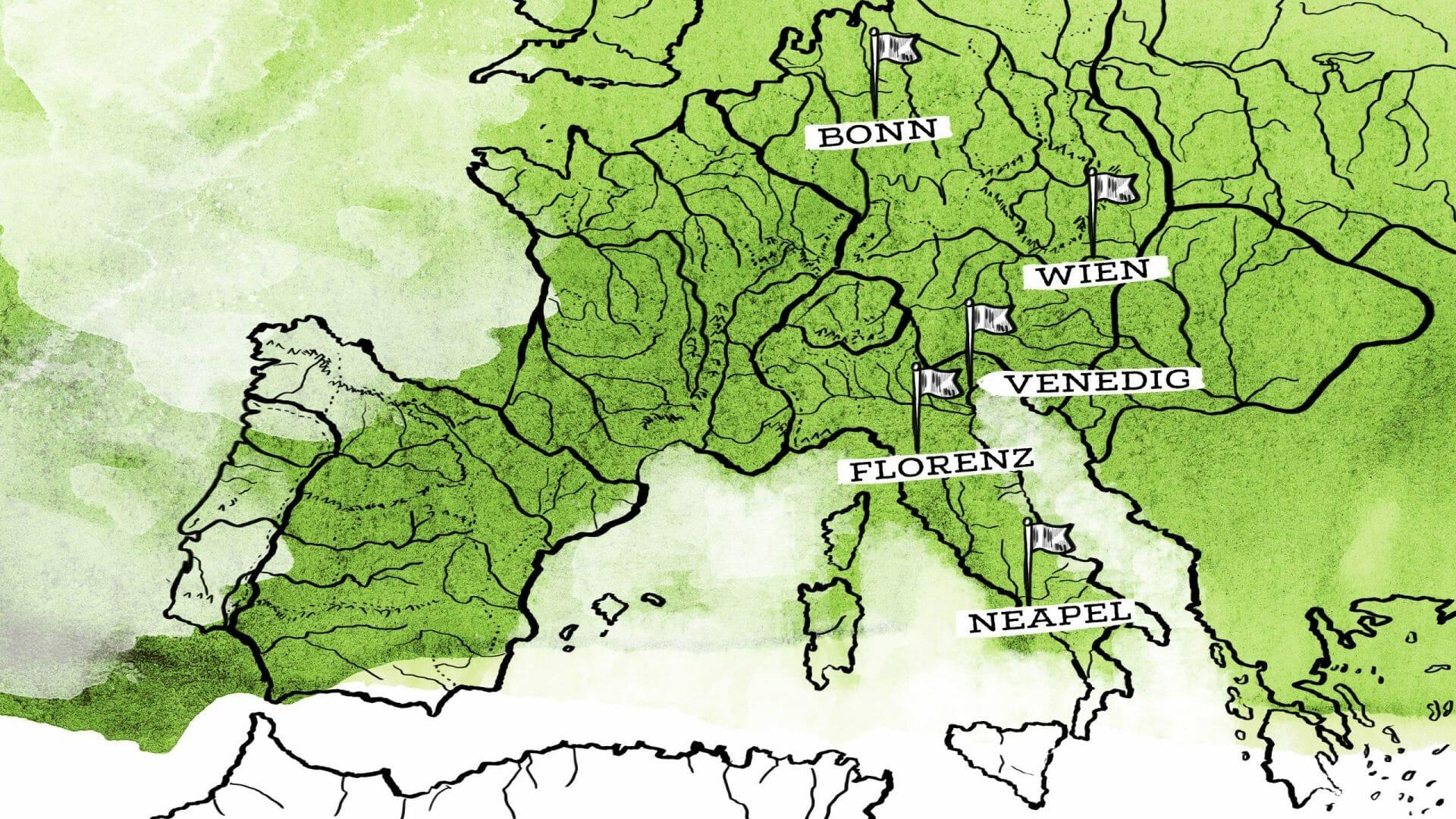 Auf einer Karte von Mitteleuropa sind die Orte Bonn, Wien, Venedig, FLorenz und Neapel eingezeichnet.