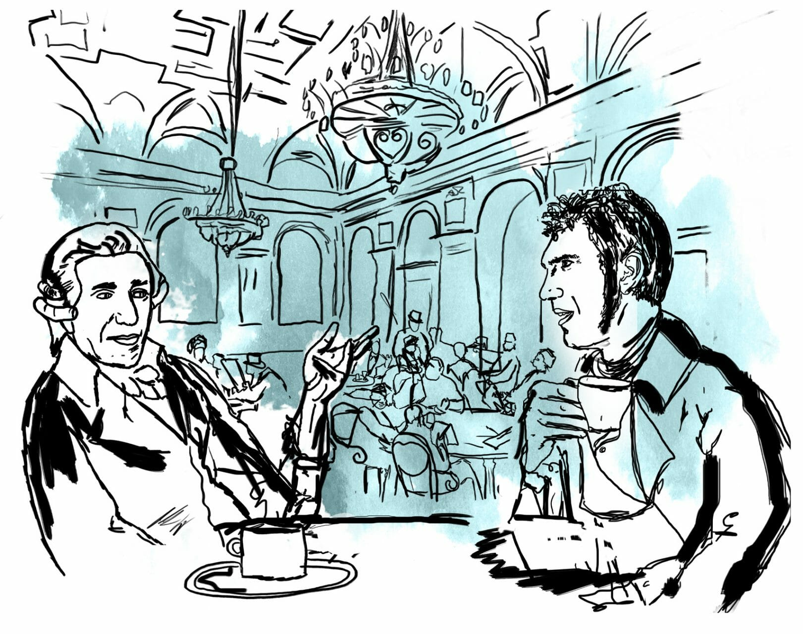 Zwei Männder sitzen in einem Caféhaus. An der Decke hängen Kronenleuchter. Auf einem Tisch stehen Tassen.
