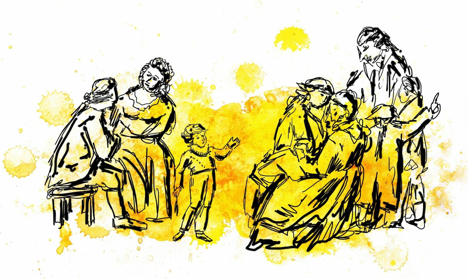 Gemälde mehrerer Personen bei unterschiedlichen Handlungen.